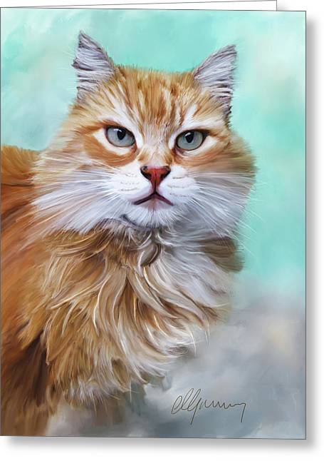Time2paint Greeting Cards - Pet Cat Portrait Greeting Card by Michael Greenaway