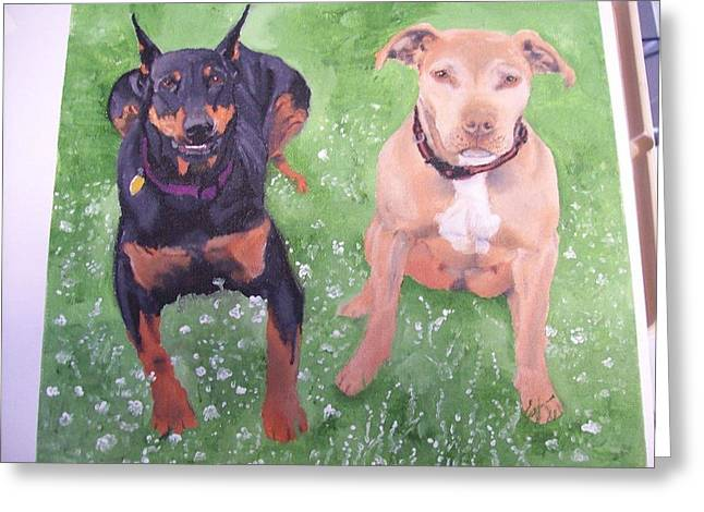 Doby Greeting Cards - Pet Portrait Original Oil Painting by Pigatopia Greeting Card by Shannon Ivins