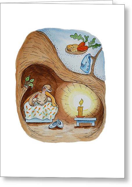 Kid Paintings Greeting Cards - Peter Rabbit and His Dream Greeting Card by Irina Sztukowski