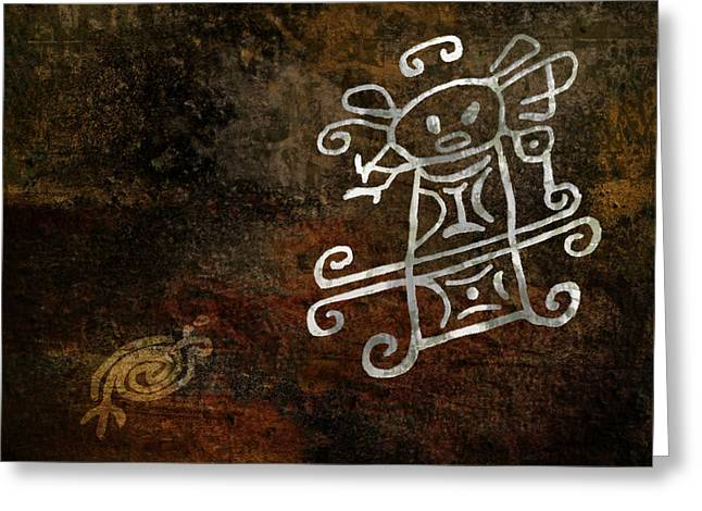 Petroglyph Greeting Cards - Petroglyph 1 Greeting Card by Bibi Romer