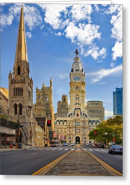 Architectural Greeting Cards - Philadelphia City Hall  Greeting Card by Susan Candelario