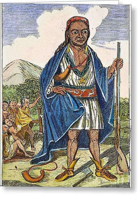 Wampanoag Greeting Cards - PHILIP METACOMET (d.1676) Greeting Card by Granger