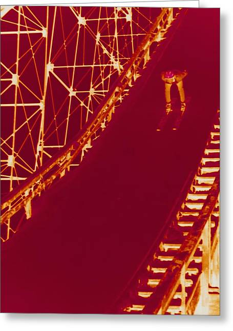 Ski Jumping Greeting Cards - Photographic Cross-processing Creates Greeting Card by Stacy Gold