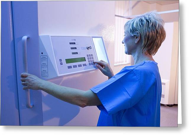 Dermatology Department Greeting Cards - Phototherapy Booth Greeting Card by