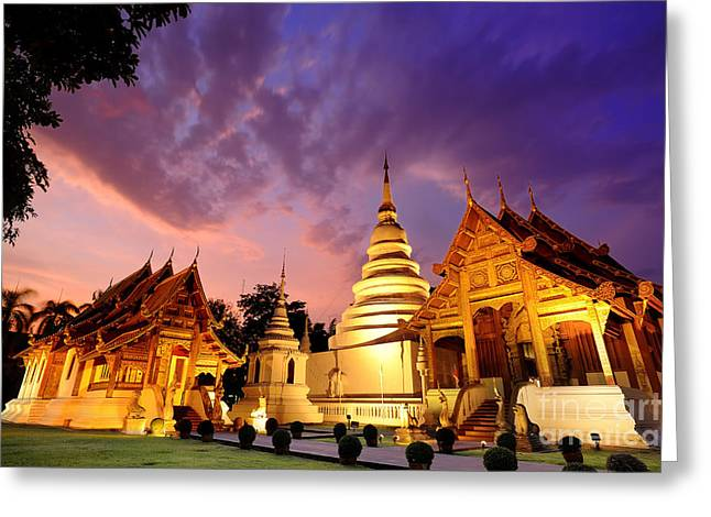 Phra Singh Temple Twilight Time Greeting Card by Panupong Roopyai