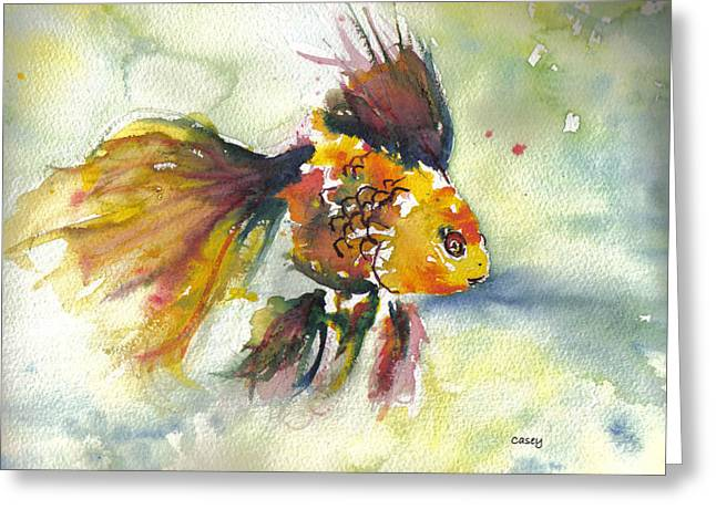 Gold Fish Paintings Greeting Cards - Phyco Fishy Greeting Card by Casey Shannon