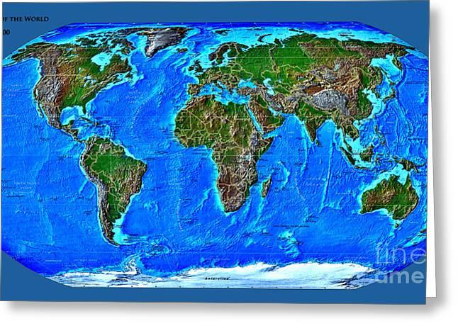 Physical Map of the World Greeting Card by Teodora Atanasova