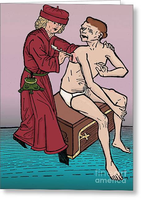 Color Enhanced Greeting Cards - Physician Lancing Wound Greeting Card by Science Source
