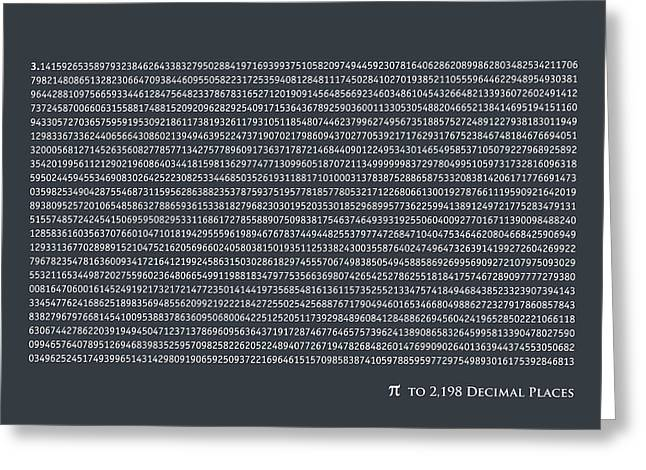 Infinite Greeting Cards - Pi to 2198 decimal places Greeting Card by Michael Tompsett