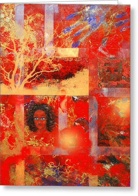 Veiled Mixed Media Greeting Cards - Pieces Greeting Card by Patricia Motley