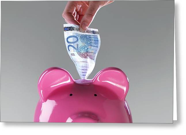 Piggy Bank With Euros Greeting Card by Tek Image