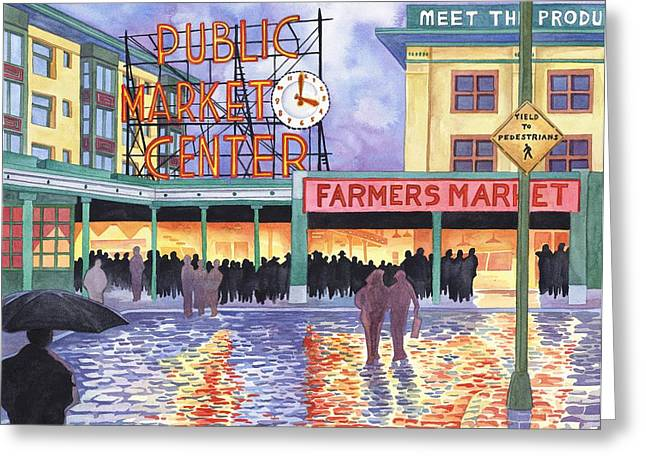 Scott Nelson Greeting Cards - Pike Place Lights Greeting Card by Scott Nelson