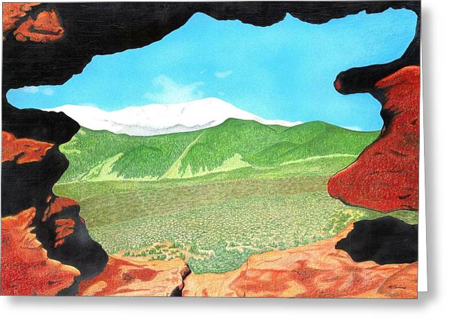 Hike Drawings Greeting Cards - Pikes Peak Through Garden of the Gods Greeting Card by Michael Cavaness