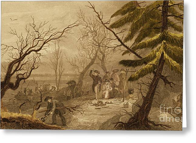 Plymouth Rock Greeting Cards - Pilgrims Landing At Plymouth, 1620 Greeting Card by Photo Researchers