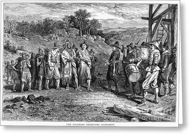 Wampanoag Greeting Cards - Pilgrims: Massasoit Greeting Card by Granger