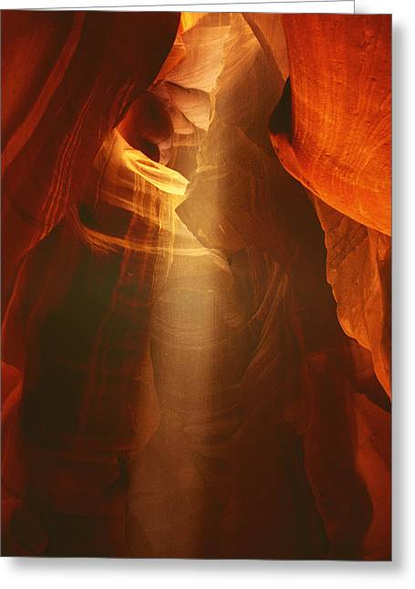 Cavern Greeting Cards - Pillars of light - Antelope Canyon AZ Greeting Card by Christine Till