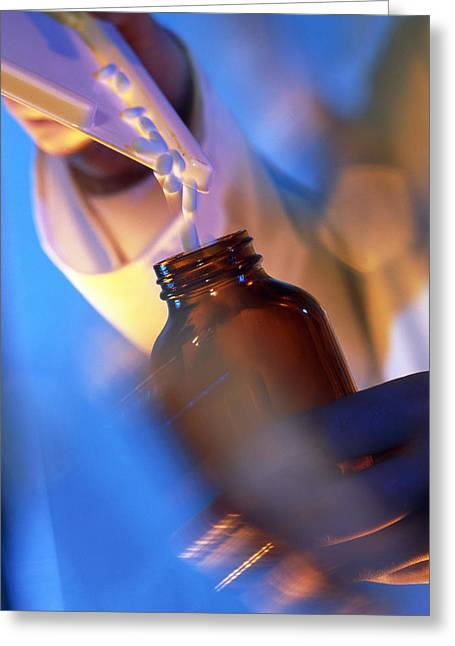 Pill Bottle Greeting Cards - Pills Being Poured Into A Bottle After Counting Greeting Card by Tek Image