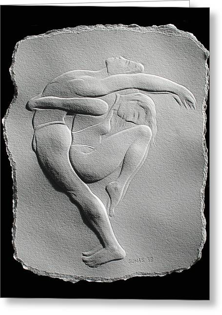 Dancers Reliefs Greeting Cards - Pilobilus dancers Greeting Card by Suhas Tavkar