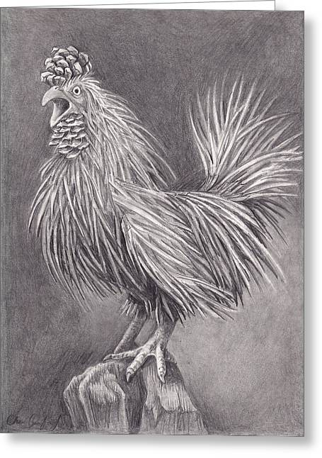 Pine Needles Drawings Greeting Cards - Pine Chicken Greeting Card by Cheri Crawford