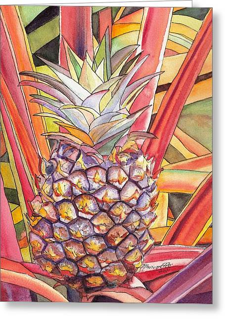 Tropical Island Greeting Cards - Pineapple Greeting Card by Marionette Taboniar