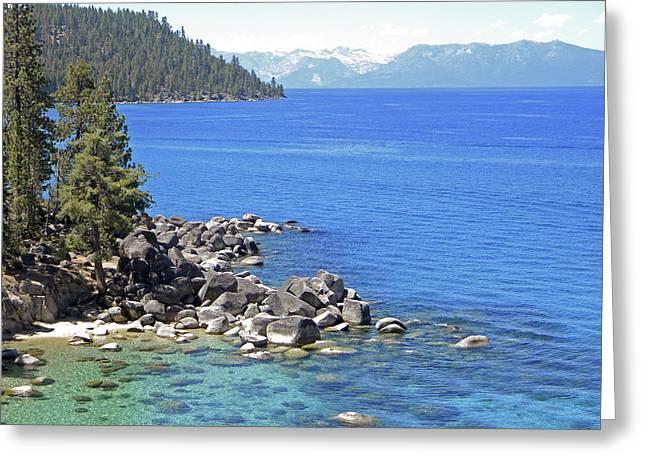 Pines Boulders And Crystal Waters Of Lake Tahoe Greeting Card by Frank Wilson