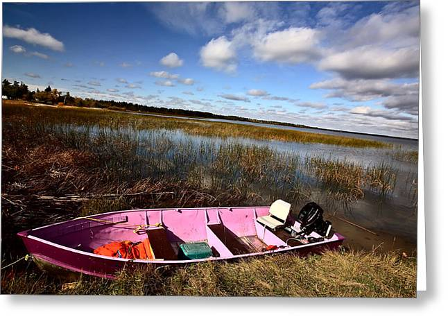 Life Jacket Greeting Cards - Pink boat in scenic Saskatchewan Greeting Card by Mark Duffy