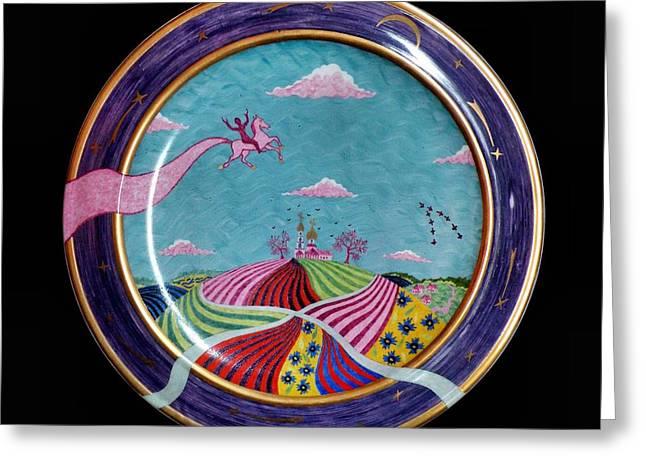 Clouds Ceramics Greeting Cards - Pink horse. Greeting Card by Vladimir Shipelyov