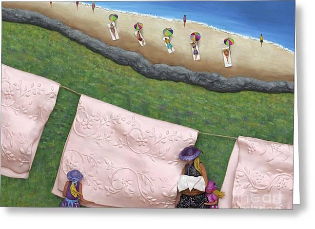 Pink Linen Greeting Card by Anne Klar