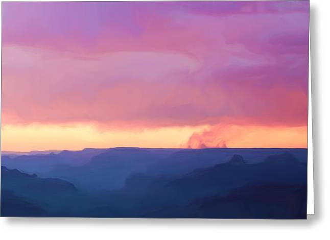 The Grand Canyon Greeting Cards - Pink Smoke Rises Greeting Card by Heidi Smith