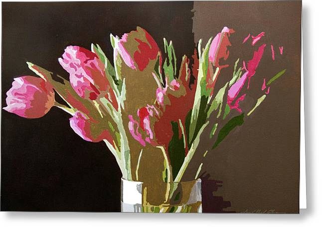 Floral Artist Greeting Cards - Pink Tulips in Glass Greeting Card by David Lloyd Glover