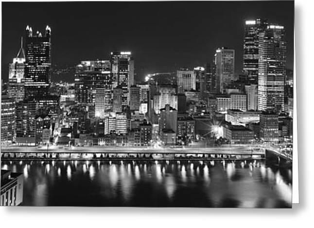 Pittsburgh Skyline. Greeting Cards - Pittsburgh Pennsylvania Skyline at Night Panorama Greeting Card by Jon Holiday