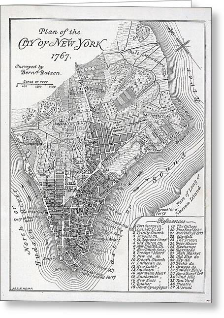 Old And New Paintings Greeting Cards - Plan of the City of New York Greeting Card by American School