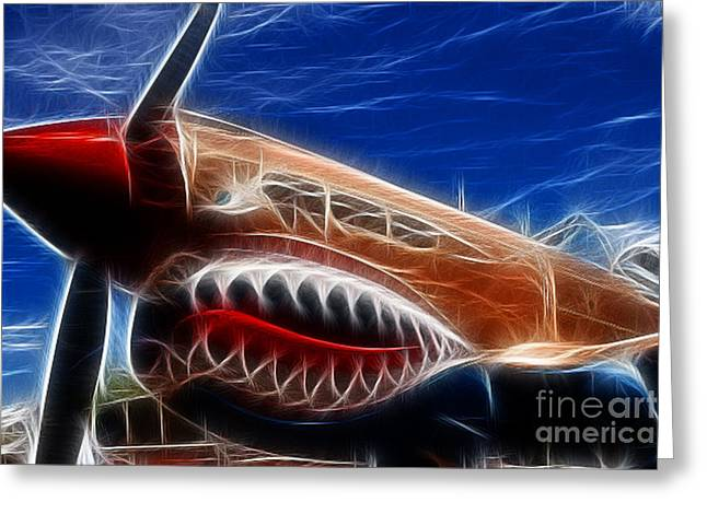 Fractalius Art Greeting Cards - Plane Flying Tigers Greeting Card by Paul Ward