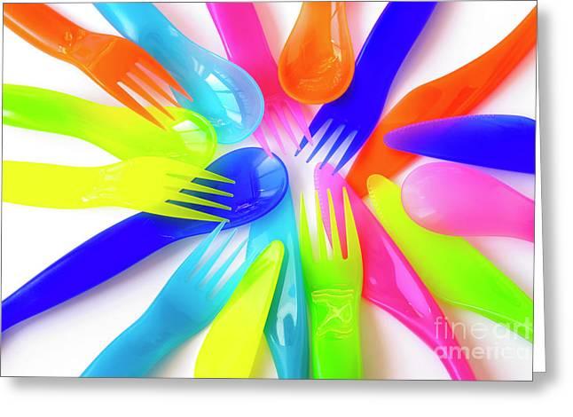 Fast Food Greeting Cards - Plastic Cutlery Greeting Card by Carlos Caetano