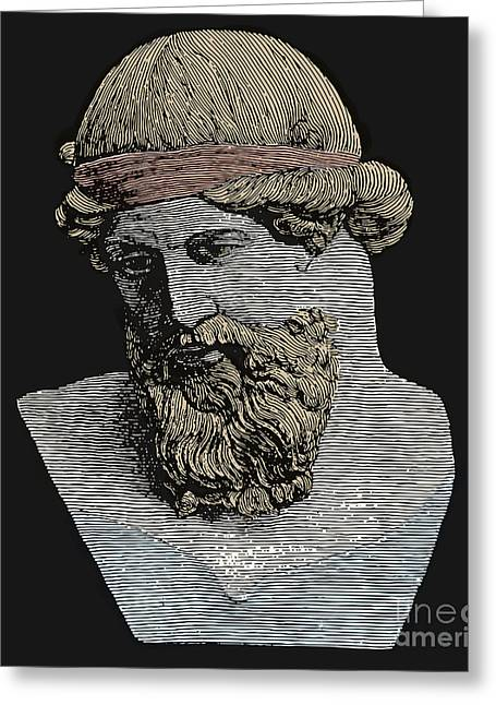 Statue Portrait Greeting Cards - Plato, Ancient Greek Philosopher Greeting Card by Science Source