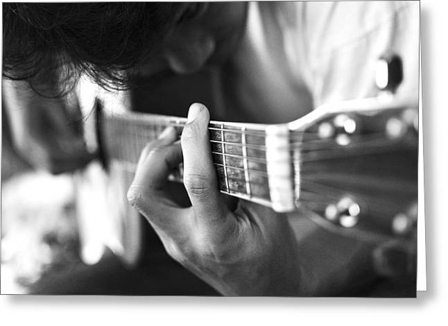 Lessons Greeting Cards - Play Acoustic Guitar Greeting Card by Nattapon Wongwean