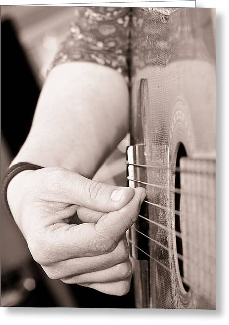 Lady Fingers Greeting Cards - Playing Guitar Greeting Card by Tom Gowanlock