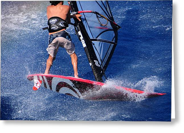Wind Surfing Art Greeting Cards - Playing with the waves Greeting Card by Manolis Tsantakis
