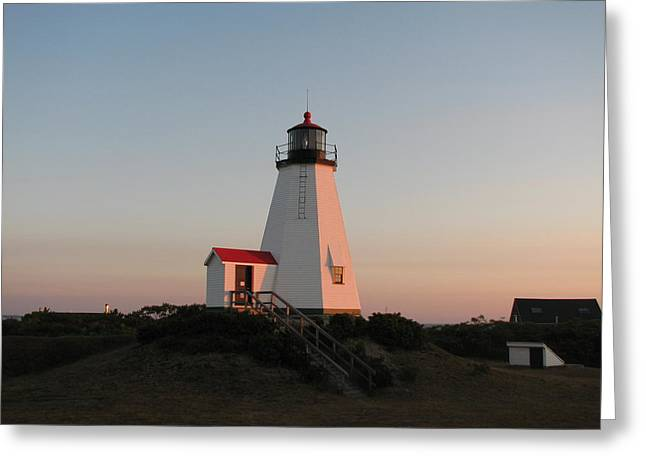 Gurnet Light Greeting Cards - Plymouth Lighthouse at Sunrise Greeting Card by Brian Mazzoli