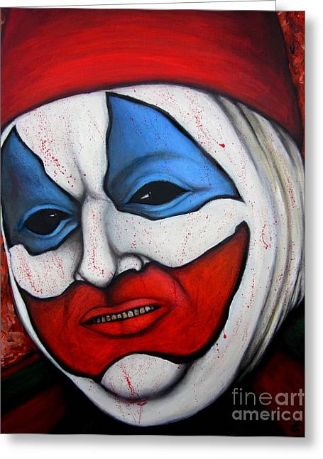 Killer Clown Greeting Cards - Pogo the Clown Greeting Card by Justin Coffman