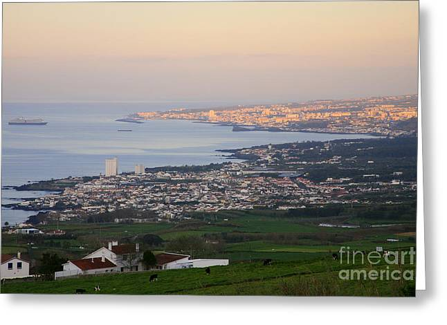 In The Distance Greeting Cards - Ponta Delgada and Lagoa Greeting Card by Gaspar Avila