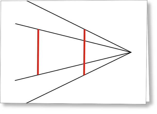 Psychology Photographs Greeting Cards - Ponzos Illusion Greeting Card by