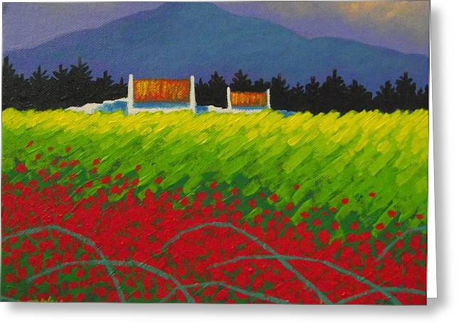 Cottage Print Greeting Cards - Poppy Meadow Greeting Card by John  Nolan
