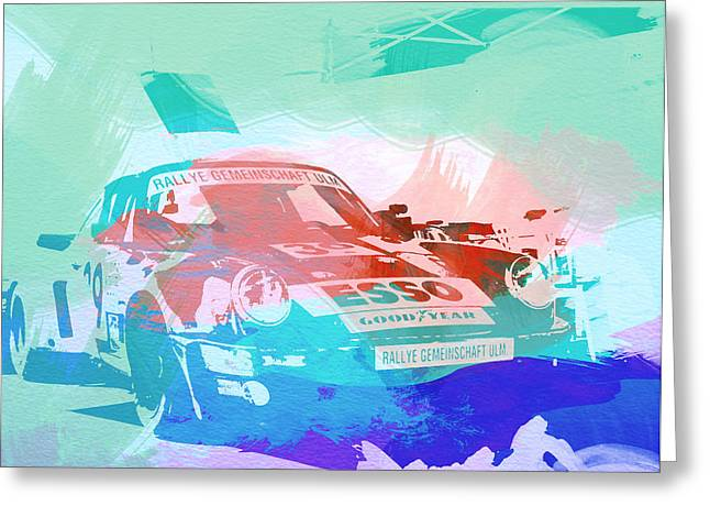 Engine Greeting Cards - Porsche 911  Greeting Card by Naxart Studio