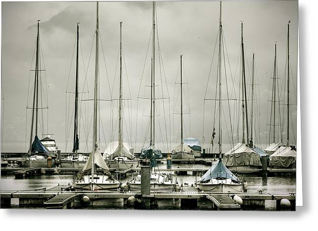 Masts Greeting Cards - Port On A Rainy Day Greeting Card by Joana Kruse