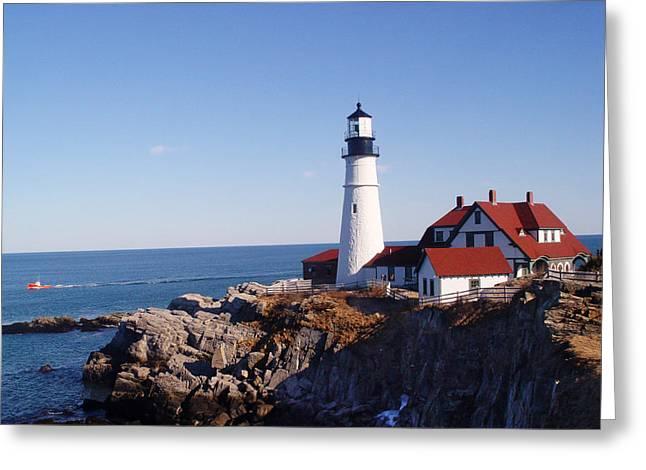 Maine Lighthouses Greeting Cards - Portland Headlight Greeting Card by Rockstar Artworks