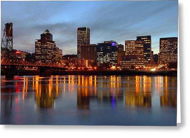 Wooden Platform Greeting Cards - Portland Oregon at dusk. Greeting Card by Gino Rigucci