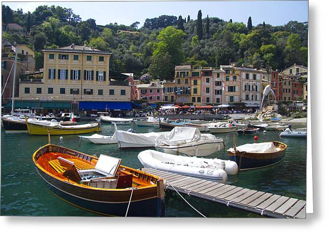 Historic Ship Greeting Cards - Portofino in the Italian Riviera in Liguria Italy Greeting Card by David Smith