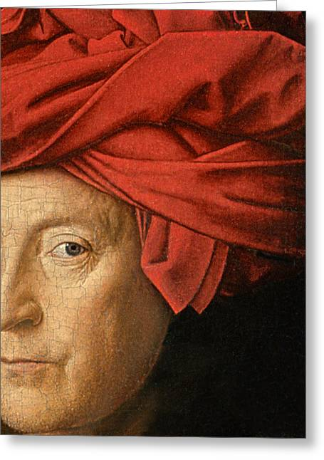 Self-portrait Greeting Cards - Portrait of a Man Greeting Card by Jan van Eyck
