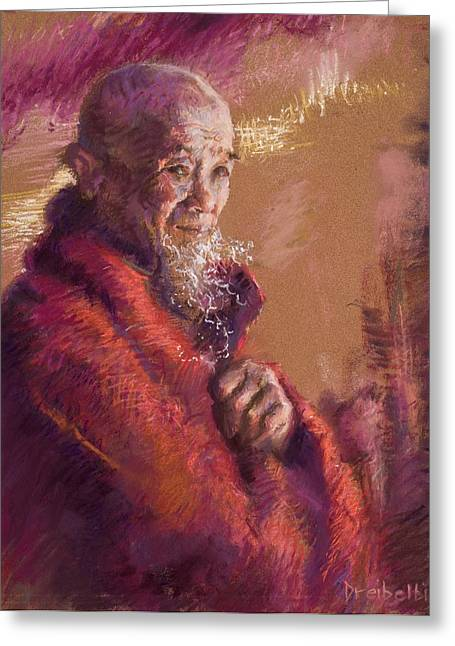Spirituality Pastels Greeting Cards - Portrait of a Monk Greeting Card by Ellen Dreibelbis